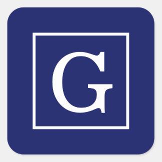 Monograma inicial enmarcado blanco de los azules pegatina cuadrada