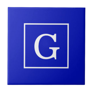 Monograma inicial enmarcado blanco del azul real tejas