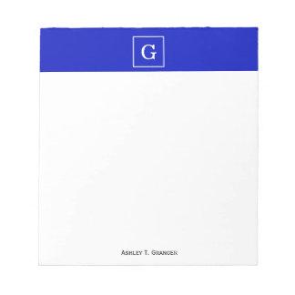 Monograma inicial enmarcado blanco del azul real blocs de notas