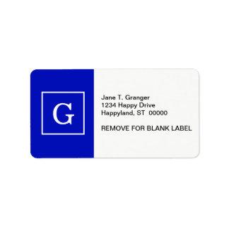 Monograma inicial enmarcado blanco del azul real etiquetas de dirección