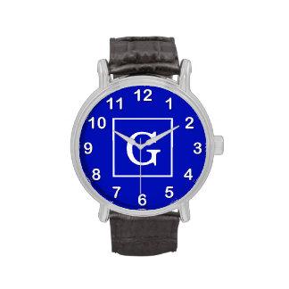 Monograma inicial enmarcado blanco del azul real reloj de mano