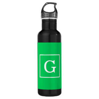 Monograma inicial enmarcado blanco del verde