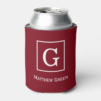Monograma inicial enmarcado blanco del vino de enfriador de latas