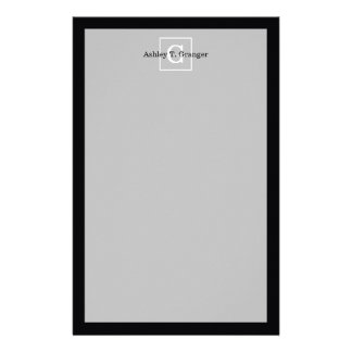 Monograma inicial enmarcado blanco negro papeleria de diseño