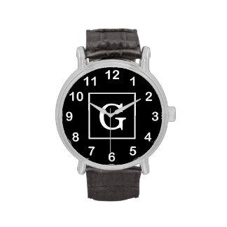Monograma inicial enmarcado blanco negro relojes de pulsera