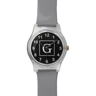 Monograma inicial enmarcado blanco negro reloj de mano