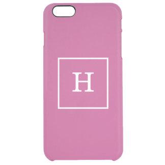 Monograma inicial enmarcado blanco púrpura de la funda clearly™ deflector para iPhone 6 plus de unc