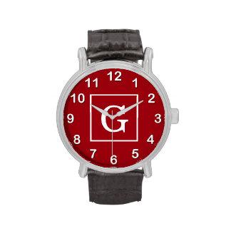 Monograma inicial enmarcado blanco rojo del aránda reloj de mano