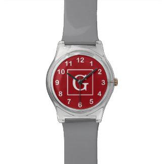 Monograma inicial enmarcado blanco rojo del aránda relojes de mano