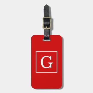 Monograma inicial enmarcado blanco rojo etiqueta para maleta