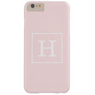 Monograma inicial enmarcado blanco rosa claro funda para iPhone 6 plus barely there