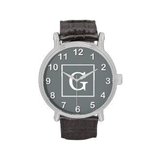 Monograma inicial enmarcado del blanco gris de car relojes