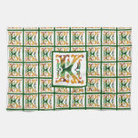 Monograma inicial K de la k del vintage Toalla De Cocina