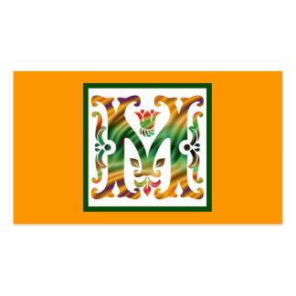 Monograma inicial M del m del vintage Tarjetas De Visita