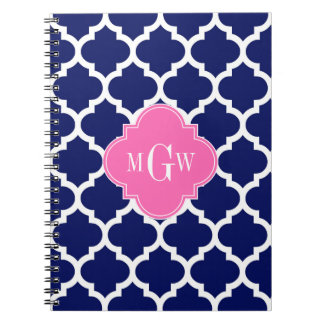 Monograma inicial Pink2 3 calientes blancos del Spiral Notebooks