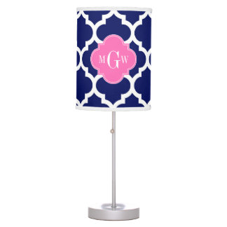 Monograma inicial Pink2 3 calientes blancos del Lámpara De Mesilla De Noche