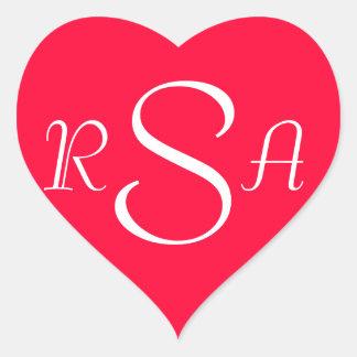 Monograma/iniciales #1 (fuente del tango de pegatina en forma de corazón