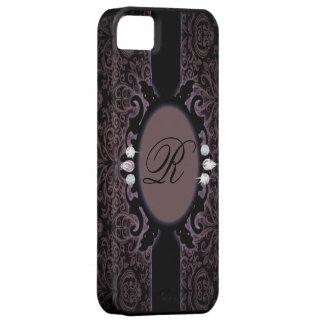 Monograma iphone5 del vintage del purpleDamask del iPhone 5 Carcasa