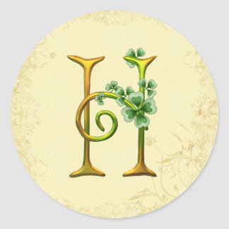 Monograma irlandés H del oro Pegatinas Redondas