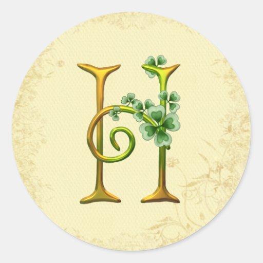 Monograma irlandés H del oro Pegatina Redonda