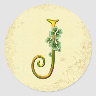 Monograma irlandés J del oro Pegatinas Redondas