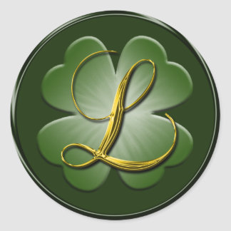Monograma irlandés L sello del boda del sobre Pegatina Redonda