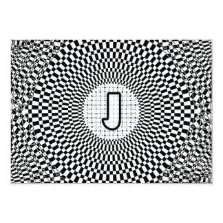 """Monograma J de la ilusión óptica Invitación 5"""" X 7"""""""