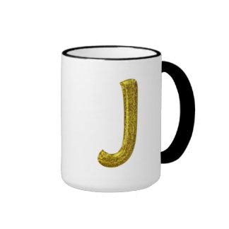 Monograma J del brillo del oro Taza A Dos Colores