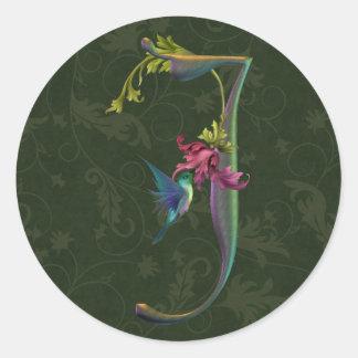 Monograma J del colibrí Pegatina Redonda