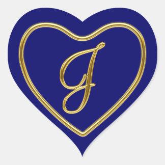 Monograma J en el oro 3D Pegatina En Forma De Corazón