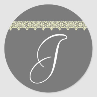 """MONOGRAMA """"J"""" en gris y marfil con el ajuste del Pegatina Redonda"""