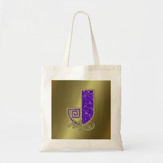 Monograma J púrpura Bolsa Tela Barata