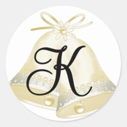 Monograma K de Belces de boda Etiquetas