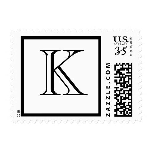 Monograma K de la postal Sellos