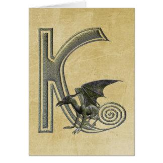 Monograma K del Gargoyle Tarjeta De Felicitación