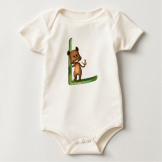 Monograma L de BabyBear Toon Mameluco De Bebé