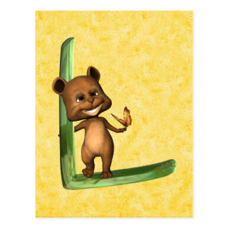 Monograma L de BabyBear Toon Postales