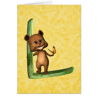 Monograma L de BabyBear Toon Tarjeta De Felicitación