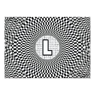 """Monograma L de la ilusión óptica Invitación 5"""" X 7"""""""