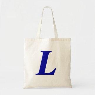 Monograma L en la bolsa de asas inicial de encargo