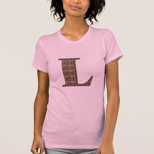 Monograma L inicial camiseta floral elegante