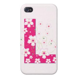 Monograma L inicial caso floral bonito del iphone  iPhone 4 Funda