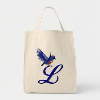 Monograma L inicial la bolsa de asas del Bluebird