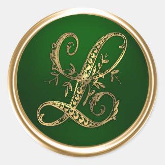 Monograma L sello del oro y de la esmeralda del Pegatina Redonda