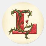 Monograma L sellos del acebo del navidad del sobre Pegatina Redonda