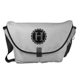 Monograma, la bolsa de mensajero blanco y negro bolsas de mensajeria