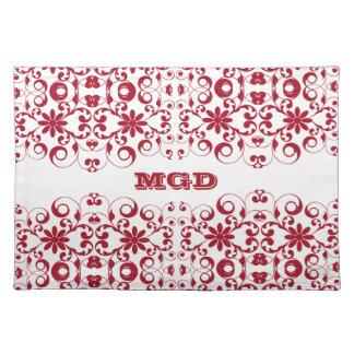 Monograma lamentable del vintage y elegante floral mantel individual