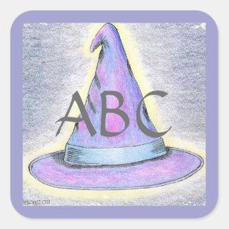 Monograma Lavendar/frontera azul del gorra del Pegatina Cuadrada