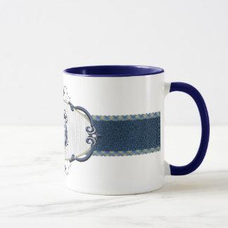 Monograma-Letra azul I de Rothenburg Taza