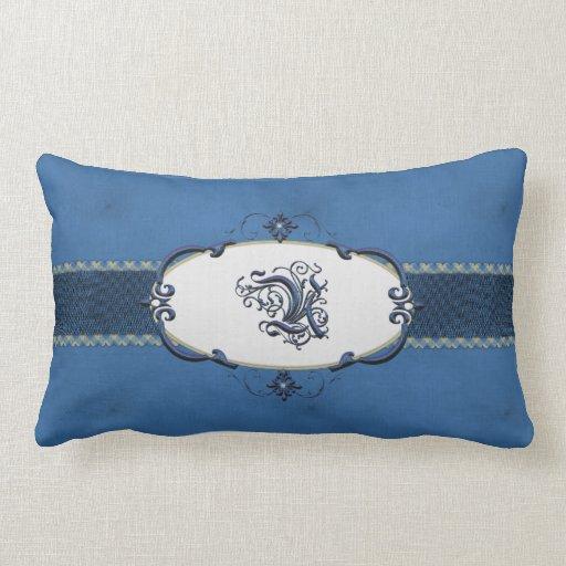 Monograma-Letra azul U de Rothenburg Almohada